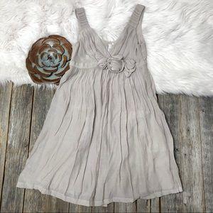 ANTHROPOLOGIE Sine Dress 0 Gray Rosettes Pleated